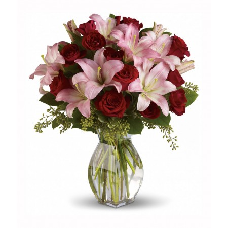 Vase with Pink Lilies & Red Roses